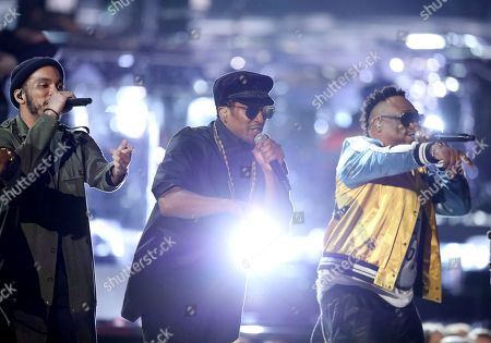Anderson .Paak, from left, Q-Tip, and Jarobi White perform at the 59th annual Grammy Awards, in Los Angeles