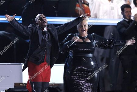 Kirk Franklin, left, and Tamela Mann perform at the 59th annual Grammy Awards, in Los Angeles