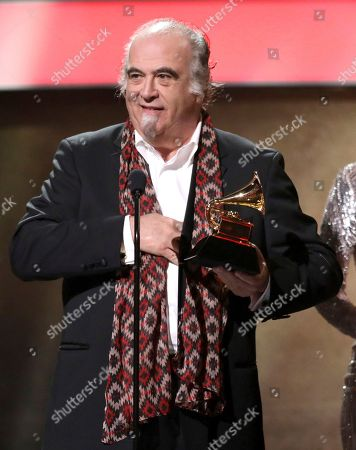 "Steve Berkowitz accepts the award for best historical album for ""The Cutting Edge"" at the 59th annual Grammy Awards, in Los Angeles"