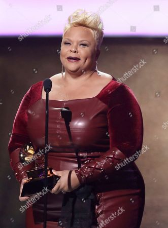 "Tamela Mann accepts the award for best gospel performance/song for ""God Provides"" at the 59th annual Grammy Awards, in Los Angeles"