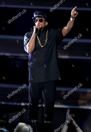Q-Tip, from A Tribe Called Quest, performs at the 59th annual Grammy Awards, in Los Angeles