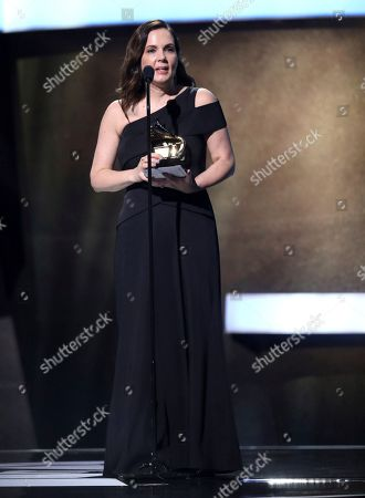 "Lori McKenna accepts the award for best country song for ""Humble and Kind"" at the 59th annual Grammy Awards, in Los Angeles"