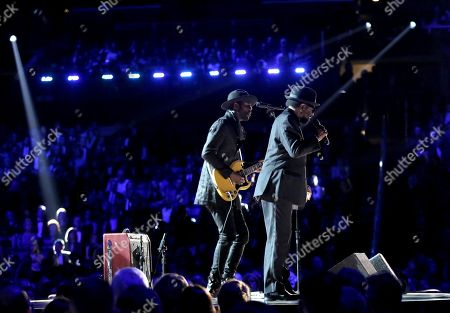 "Gary Clark Jr., left, and William Bell perform ""Born Under a Bad Sign"" at the 59th annual Grammy Awards, in Los Angeles"