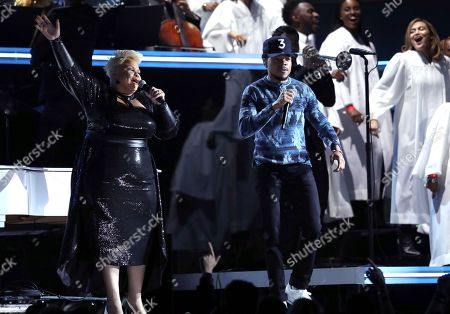 Tamela Mann, left, and Chance the Rapper perform at the 59th annual Grammy Awards, in Los Angeles