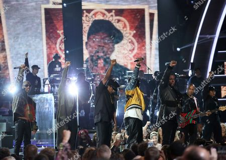 Stock Picture of Ali Shaheed Muhammad, from left, Anderson .Paak, Q-Tip, Jarobi White and Busta Rhymes perform at the 59th annual Grammy Awards, in Los Angeles