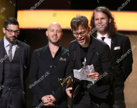 "Stock Picture of Donny McCaslin accepts the award for best alternative music album for ""Backstar"" by David Bowie at the 59th annual Grammy Awards, in Los Angeles"