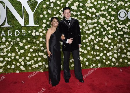 Baayork Lee, left, and Malan Breton arrive at the 71st annual Tony Awards at Radio City Music Hall, in New York