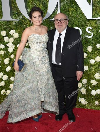 Lucy DeVito, left, and Danny DeVito arrive at the 71st annual Tony Awards at Radio City Music Hall, in New York