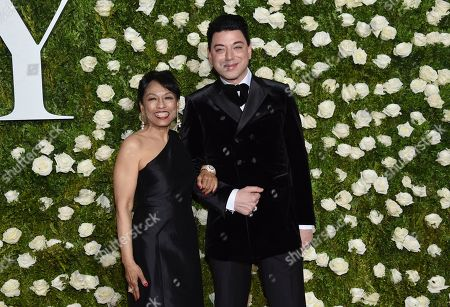 Stock Photo of Baayork Lee, left, and Malan Breton arrive at the 71st annual Tony Awards at Radio City Music Hall, in New York
