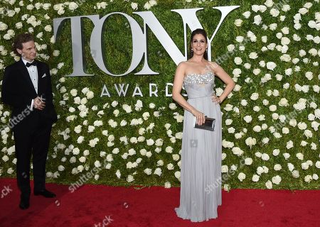 Sebastian Arcelus, left, and Stephanie J. Block arrive at the 71st annual Tony Awards at Radio City Music Hall, in New York