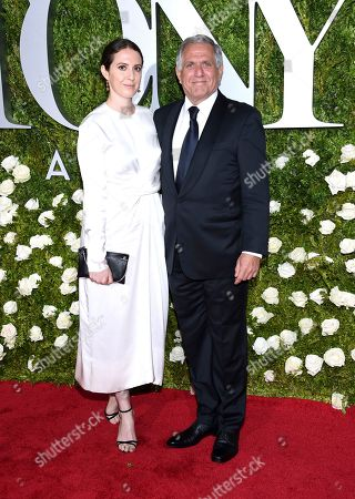 Sara Moonves, left, and Les Moonves arrive at the 71st annual Tony Awards at Radio City Music Hall, in New York