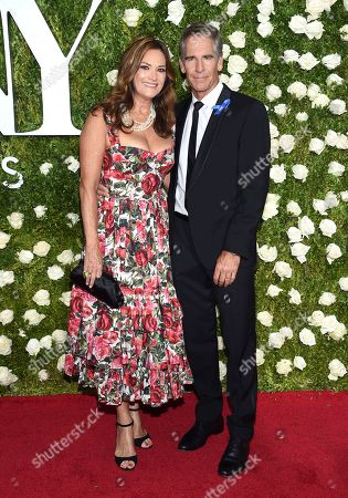 Chelsea Field, left, and Scott Bakula arrive at the 71st annual Tony Awards at Radio City Music Hall, in New York