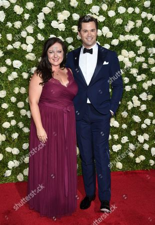 Stock Image of Zuzanna Szadkowski, left, and Andrew Rannells arrive at the 71st annual Tony Awards at Radio City Music Hall, in New York