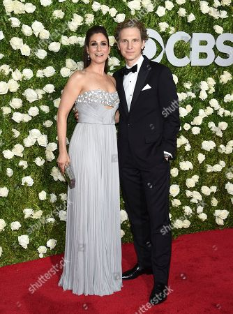 Stephanie J. Block, left, and Sebastian Arcelus arrive at the 71st annual Tony Awards at Radio City Music Hall, in New York