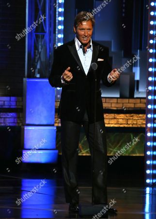 "Ron Duguay introduces a performance by the cast of ""Come From Away"" at the 71st annual Tony Awards, in New York"