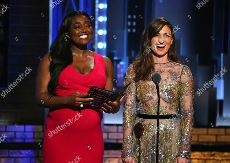 Patina Miller, left, and Sara Bareilles present the award for best performance by an actress in a featured role in a musical at the 71st annual Tony Awards, in New York