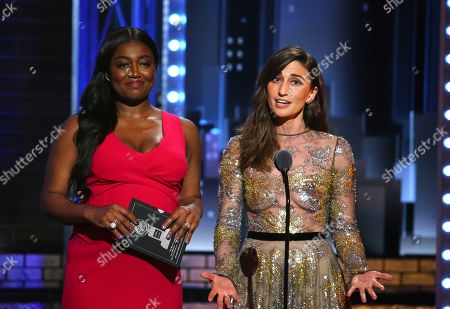 Stock Picture of Patina Miller, left, and Sara Bareilles present the award for best performance by an actress in a featured role in a musical at the 71st annual Tony Awards, in New York