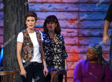 """Jenn Colella, left, and the cast of """"Come From Away"""" perform at the 71st annual Tony Awards, in New York"""