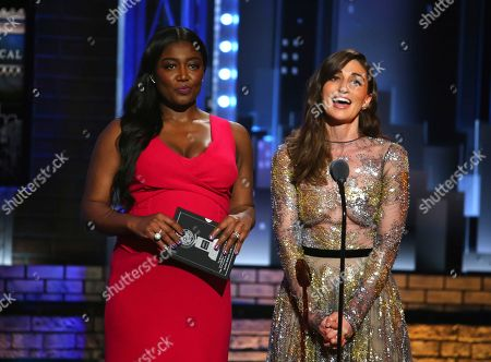 Stock Image of Patina Miller, left, and Sara Bareilles present the award for best performance by an actress in a featured role in a musical at the 71st annual Tony Awards, in New York