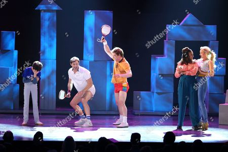 "Anthony Rosenthal, from left, Andrew Rannells, Cristian Borle, Tracie Thoms and Betsy Wolfe from the cast of ""Falsettos"" perform at the 71st annual Tony Awards, in New York"