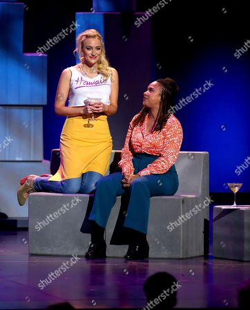 "Betsy Wolfe, left, and Tracie Thoms from the cast of ""Falsettos"" perform at the 71st annual Tony Awards, in New York"