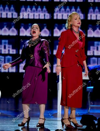 "Patti Lupone, left, and Christine Ebersole of ""War Paint"" perform at the 71st annual Tony Awards, in New York"