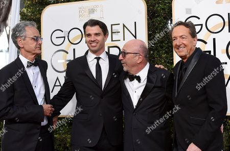 CEO of Dick Clark Productions Allen Shapiro, from left, president of DC Media Michael Mahan, president of Hollywood Foreign Press Association Lorenzo Soria and EVP television, Dick Clark Productions Barry Adelman arrive at the 74th annual Golden Globe Awards at the Beverly Hilton Hotel, in Beverly Hills, Calif