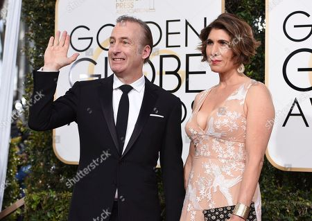 Bob Odenkirk, left, and Naomi Odenkirk arrive at the 74th annual Golden Globe Awards at the Beverly Hilton Hotel, in Beverly Hills, Calif