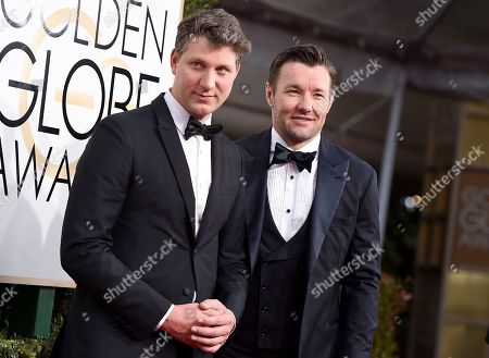 Jeff Nichols, left, and Joel Edgerton arrive at the 74th annual Golden Globe Awards at the Beverly Hilton Hotel, in Beverly Hills, Calif