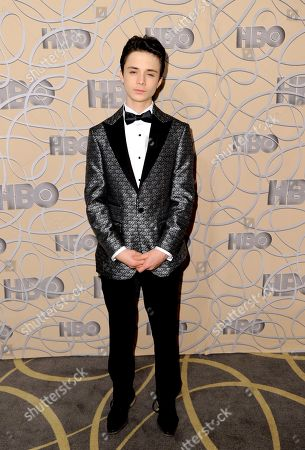 Lucas Jade Zumann arrives at the HBO Golden Globes afterparty at the Beverly Hilton Hotel, in Beverly Hills, Calif