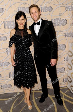 Stock Photo of Perrey Reeves, left, and Aaron Endress-Fox arrive at the HBO Golden Globes afterparty at the Beverly Hilton Hotel, in Beverly Hills, Calif