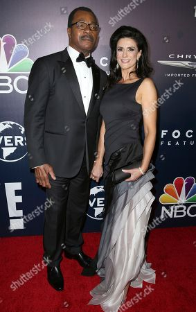Carl Weathers, left, and Christine Kludjian arrive at the NBCUniversal Golden Globes afterparty at the Beverly Hilton Hotel, in Beverly Hills, Calif