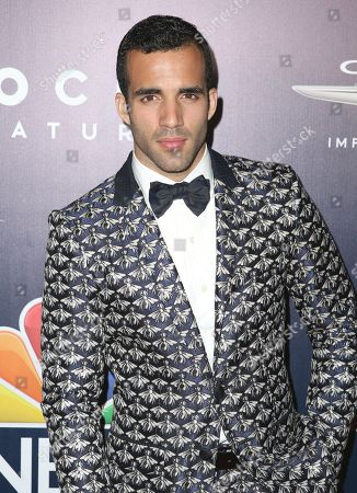 Danell Leyva arrives at the NBCUniversal Golden Globes afterparty at the Beverly Hilton Hotel, in Beverly Hills, Calif