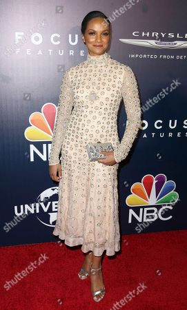 Mekia Cox arrives at the NBCUniversal Golden Globes afterparty at the Beverly Hilton Hotel, in Beverly Hills, Calif