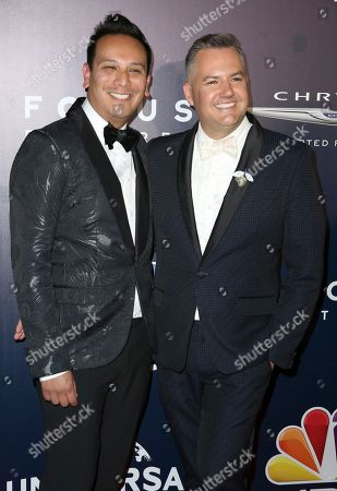 Ross Mathews, right, and Salvador Camarena arrive at the NBCUniversal Golden Globes afterparty at the Beverly Hilton Hotel, in Beverly Hills, Calif
