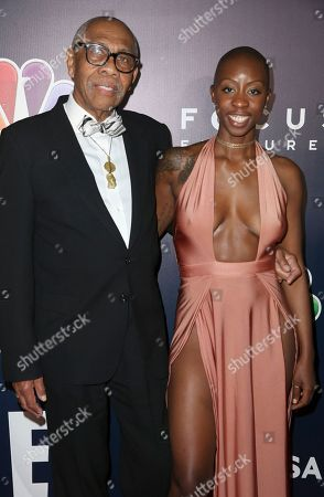Kenneth Walker, left, and Oge Egbuonu arrive at the NBCUniversal Golden Globes afterparty at the Beverly Hilton Hotel, in Beverly Hills, Calif