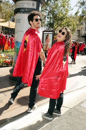 Adam Shapiro and Katie Lowes seen at The Lollipop Super Hero Walk 2017 benifiting the Lollipop Theatre Network at The Grove on Suday, in Los Angeles, CA