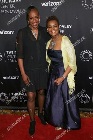 Retired athlete Jackie Joyner-Kersee, left, and president of the Verizon Foundation Rose Kirk attend The Paley Honors: Celebrating Women in Television at Cipriani Wall Street, in New York