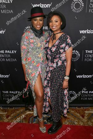 Stock Image of Misha Green, left, and Aisha Hinds attend The Paley Honors: Celebrating Women in Television at Cipriani Wall Street, in New York