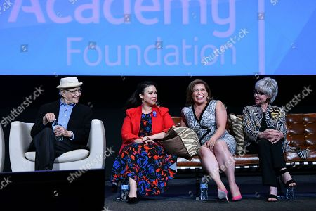 Norman Lear, from left, Gloria Calderon Kellett, Justina Machado and Rita Moreno take part in The Power of TV: A Conversation with Norman Lear and One Day at a Time, presented by the Television Academy Foundation and Netflix in celebration of the Foundation's 20th Anniversary of THE INTERVIEWS: An Oral History Project, on in the Wolf Theatre at the Saban Media Center in North Hollywood, Calif
