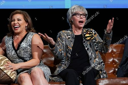 Justina Machado and Rita Moreno take part in The Power of TV: A Conversation with Norman Lear and One Day at a Time, presented by the Television Academy Foundation and Netflix in celebration of the Foundation's 20th Anniversary of THE INTERVIEWS: An Oral History Project, on in the Wolf Theatre at the Saban Media Center in North Hollywood, Calif