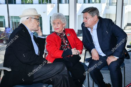 Stock Picture of Norman Lear, from left, Charlotte Rae and Ted Sarandos attend The Power of TV: A Conversation with Norman Lear and One Day at a Time, presented by the Television Academy Foundation and Netflix in celebration of the Foundation's 20th Anniversary of THE INTERVIEWS: An Oral History Project, on in the Wolf Theatre at the Saban Media Center in North Hollywood, Calif