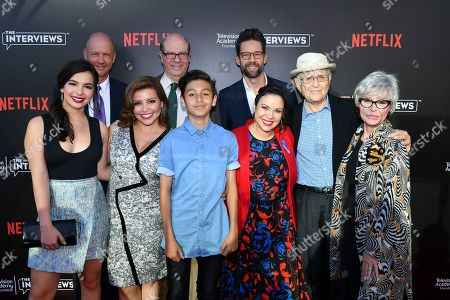 Isabella Gomez, from left, Mike Royce, Justina Machado, Stephen Tobolowsky, Marcel Ruiz, Todd Grinnell, Gloria Calderon Kellett, Norman Lear and Rita Moreno attend The Power of TV: A Conversation with Norman Lear and One Day at a Time, presented by the Television Academy Foundation and Netflix in celebration of the Foundation's 20th Anniversary of THE INTERVIEWS: An Oral History Project, on in the Wolf Theatre at the Saban Media Center in North Hollywood, Calif