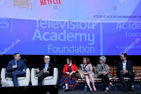 Michael Schneider, from left, Norman Lear, Gloria Calderon Kellett, Justina Machado, Rita Moreno and Todd Grinnell take part in The Power of TV: A Conversation with Norman Lear and One Day at a Time, presented by the Television Academy Foundation and Netflix in celebration of the Foundation's 20th Anniversary of THE INTERVIEWS: An Oral History Project, on in the Wolf Theatre at the Saban Media Center in North Hollywood, Calif