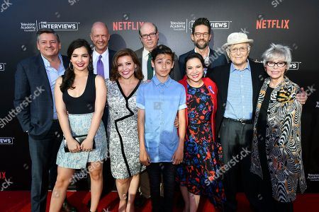 Ted Sarandos, from left, Isabella Gomez, Mike Royce, Justina Machado, Stephen Tobolowsky, Marcel Ruiz, Todd Grinnell, Gloria Calderon Kellett, Norman Lear and Rita Moreno attend The Power of TV: A Conversation with Norman Lear and One Day at a Time, presented by the Television Academy Foundation and Netflix in celebration of the Foundation's 20th Anniversary of THE INTERVIEWS: An Oral History Project, on in the Wolf Theatre at the Saban Media Center in North Hollywood, Calif