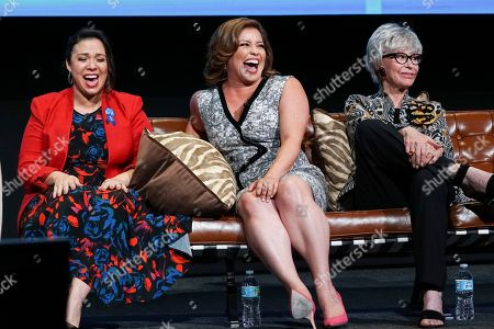 Gloria Calderon Kellett, Justina Machado and Rita Moreno take part in The Power of TV: A Conversation with Norman Lear and One Day at a Time, presented by the Television Academy Foundation and Netflix in celebration of the Foundation's 20th Anniversary of THE INTERVIEWS: An Oral History Project, on in the Wolf Theatre at the Saban Media Center in North Hollywood, Calif