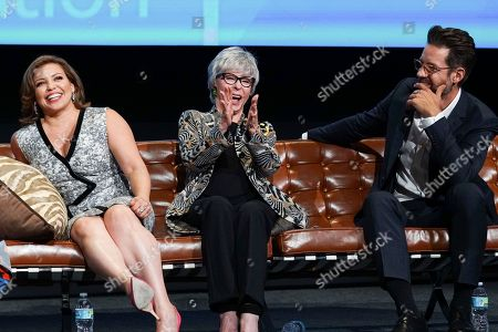 Justina Machado, from left, Rita Moreno and Todd Grinnell take part in The Power of TV: A Conversation with Norman Lear and One Day at a Time, presented by the Television Academy Foundation and Netflix in celebration of the Foundation's 20th Anniversary of THE INTERVIEWS: An Oral History Project, on in the Wolf Theatre at the Saban Media Center in North Hollywood, Calif