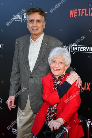 Stock Image of Charlotte Rae and John Bowab attend The Power of TV: A Conversation with Norman Lear and One Day at a Time, presented by the Television Academy Foundation and Netflix in celebration of the Foundation's 20th Anniversary of THE INTERVIEWS: An Oral History Project, on in the Wolf Theatre at the Saban Media Center in North Hollywood, Calif