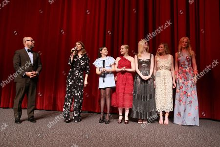 """Producer Youree Henley, Writer/Director Sofia Coppola, Addison Riecke, Emma Howard, Elle Fanning, Kirsten Dunst and Nicole Kidman speak at The U.S. Premiere of Focus Features """"The Beguiled"""" at Directors Guild of America, in Los Angeles"""