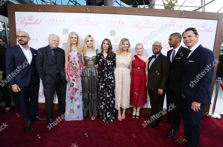 """Peter Kujawski, Chairman of Focus Features, Executive Producer Fred Roos, Nicole Kidman, Elle Fanning, Writer/Director Sofia Coppola, Kirsten Dunst, Emma Howard, Producer Youree Henley, Abhijay Prakash, COO of Focus Features, and Jason Cassidy, President of Marketing for Focus Features, seen at The U.S. Premiere of Focus Features """"The Beguiled"""" at Directors Guild of America, in Los Angeles"""